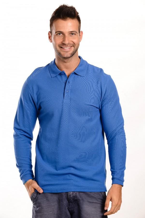 Férfi Galléros Hosszú Ujjú Póló Kék
