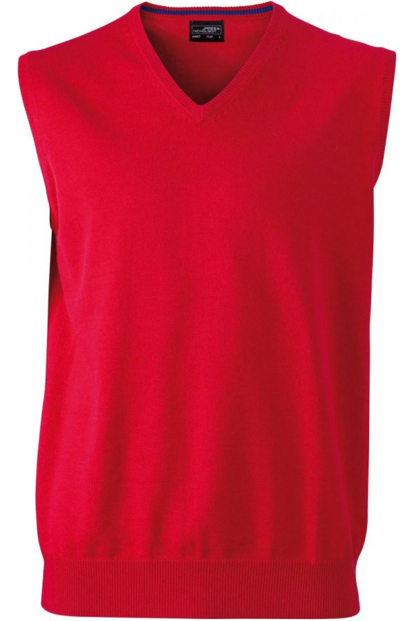 James & Nicholson  Férfi V-nyakú ujjatlan pulóver piros színű
