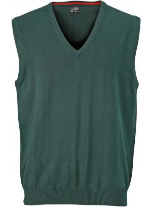 James & Nicholson  Férfi V-nyakú ujjatlan pulóver sötétzöld színű